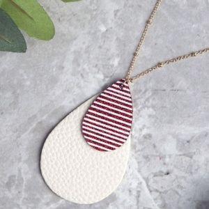 Glitter Stripe Double Drop Necklace